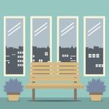 Houten Stoel met Vier Glazenvensters Stock Afbeelding