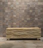Houten stoel op houten tegelachtergrond Stock Fotografie