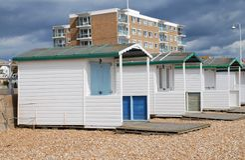 Houten strandhutten, Bexhill Royalty-vrije Stock Afbeelding