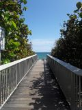 Houten Strandweg in Florida stock afbeelding