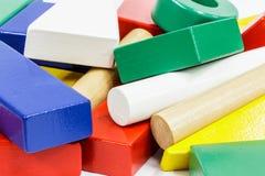 Houten stuk speelgoed blokken Stock Afbeeldingen