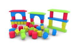 Houten stuk speelgoed blokken op witte achtergrond Stock Foto