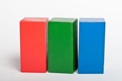 Houten stuk speelgoed bouwstenen Stock Foto's