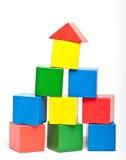 Houten stuk speelgoed bouwstenen Stock Afbeelding