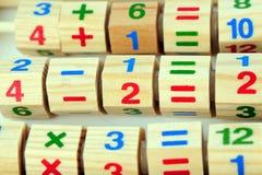Houten stuk speelgoed calculator Royalty-vrije Stock Foto's