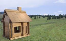 Houten stuk speelgoed huis op een achtergrond van aard Stock Foto