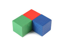 Houten stuk speelgoed kubussen stock afbeeldingen