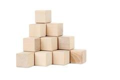 Houten stuk speelgoed kubussen Stock Foto
