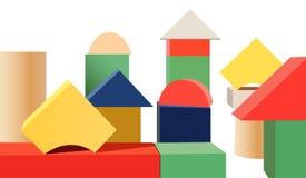 Houten stuk speelgoed kubussenvector Royalty-vrije Stock Foto