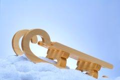 Houten stuk speelgoed slee Royalty-vrije Stock Fotografie