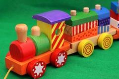 Houten stuk speelgoed trein Stock Foto