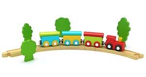 Houten stuk speelgoed trein die op een witte achtergrond wordt geïsoleerde Royalty-vrije Stock Afbeelding