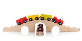 Houten stuk speelgoed treinen Royalty-vrije Stock Afbeeldingen