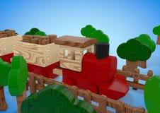 Houten stuk speelgoed treinillustratie Stock Foto