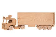 Houten stuk speelgoed vrachtwagen Stock Foto's