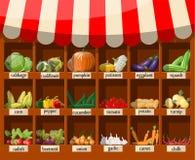 Houten supermarktplank met groenten vector illustratie