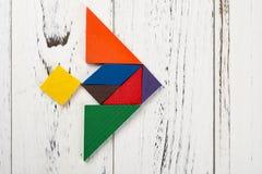 Houten tangram in vechters straalvorm Royalty-vrije Stock Afbeelding