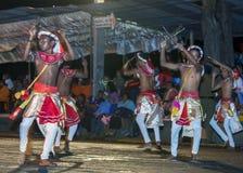Houten Tappers presteert langs de straten van Kandy tijdens Esala Perahara in Sri Lanka Royalty-vrije Stock Foto
