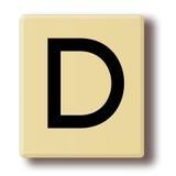 Houten tegel met de brief D Stock Afbeelding