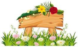 Houten teken in gras met bloemen vector illustratie