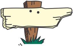 Houten teken met grasvector Stock Fotografie