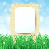 Houten teken op de lenteachtergrond Royalty-vrije Stock Fotografie