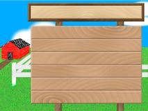 Houten teken van rood schuurlandbouwbedrijf Stock Afbeeldingen