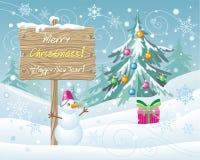 Houten Teken Vrolijke Kerstmis en Gelukkig Nieuwjaar Royalty-vrije Stock Afbeeldingen