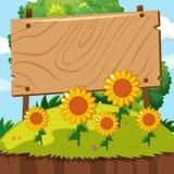 Houten teken in zonnebloemtuin royalty-vrije illustratie