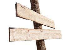 Houten tekenraad die op witte achtergrond wordt geïsoleerdt Oude houten geïsoleerde tekenraad Geïsoleerd pijl houten uithangbord Royalty-vrije Stock Foto's
