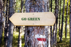 Houten tekenraad in het bos Richtingsraad met GO GROEN teken Stock Foto's