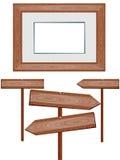 Houten tekens en frame. Royalty-vrije Stock Foto
