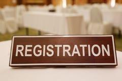 Houten tekens van registratie op een lijst Royalty-vrije Stock Afbeelding