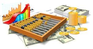 Houten telraam, rekeningen en muntstukken. Royalty-vrije Stock Afbeeldingen