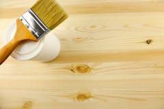 Houten textuur en tin, penseel Royalty-vrije Stock Afbeelding