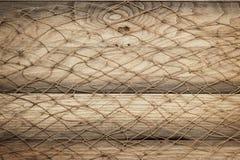 Houten textuur en visnet als achtergrond Royalty-vrije Stock Afbeelding