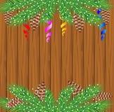 Houten textuur met de takken van Kerstmisboom Royalty-vrije Stock Afbeeldingen