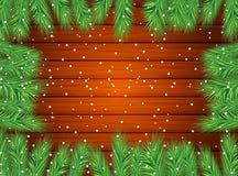 Houten textuur met de takken van Kerstmisboom Stock Afbeelding