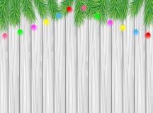 Houten textuur met de takken van Kerstmisboom en helder GA Royalty-vrije Stock Afbeeldingen