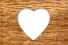 Houten textuur met gesneden hart Royalty-vrije Stock Afbeelding