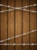 Houten textuur met prikkeldraad. Royalty-vrije Stock Foto's
