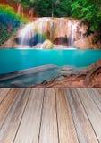 Houten Textuurachtergrond en waterval Royalty-vrije Stock Afbeeldingen