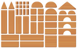 Houten Toy Blocks Collection Set Royalty-vrije Stock Foto's