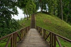 Houten trap, Vytautas-heuvel, Birstonas Litouwen royalty-vrije stock fotografie