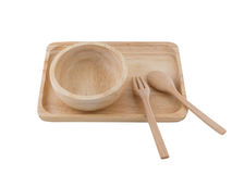 Houten Tray And Spoon On White-Achtergrond Stock Foto