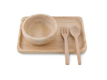 Houten Tray And Spoon In White-Achtergrond Stock Afbeeldingen