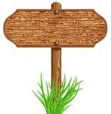 Houten uithangbord en gras stock illustratie