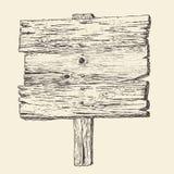 Houten uithangbord (houten teken) uitstekende illustratie, gegraveerde retro stijl, getrokken hand, Stock Foto