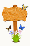 Houten uithangbord met bloemen en vlinders Stock Afbeelding