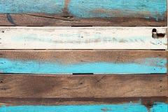 Houten uitstekend bruin wit blauw als achtergrond Stock Foto